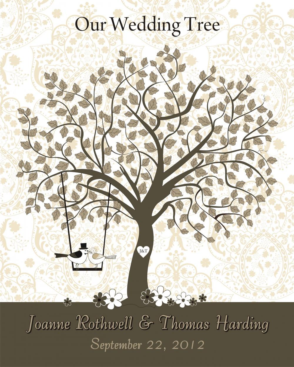 Wedding Guest Signing Tree: Personalized Wedding Signature Guestbook Tree 16x20 On Luulla