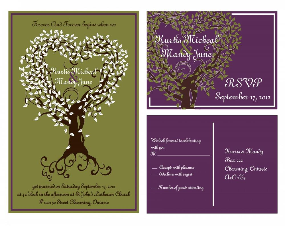 Budget Custom Wedding Invitations- and matching RSVP set , 50 sets