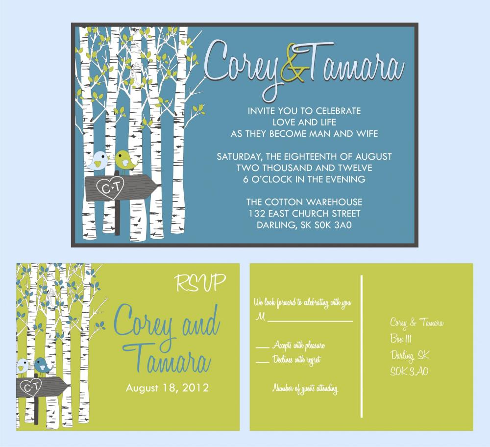 Custom Wedding Invitations: and matching RSVP postcard wedding suite